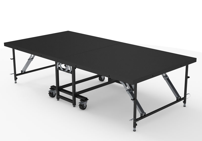 """4FT X 8FT - 32"""" HIGH FOLDING STAGE IN INDUSTRIAL FINISH - 8pcs"""