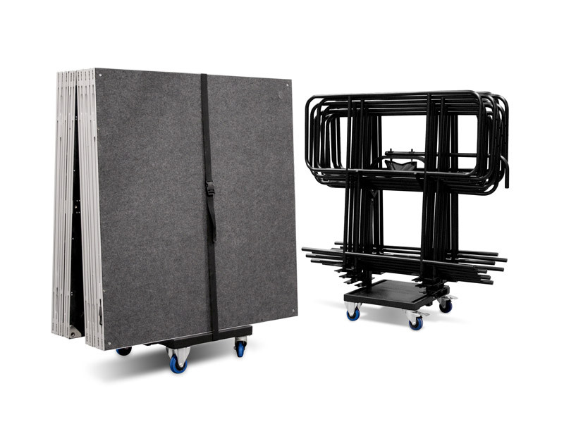 Universal Trolley for transportation and storage of up to 8 IntelliStage platforms, or up to 10 IntelliStage guard rails, or up to 10 IntelliStage ramp metal frames with ramp legs **Shipped flat pack - needs simple assembly