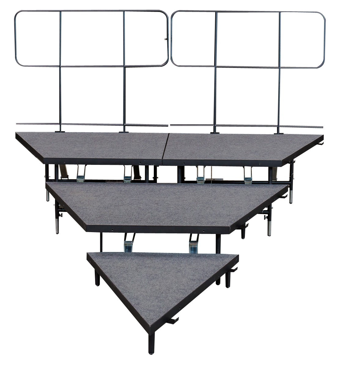 "8"", 16"" , 24"" HIGH - 3 PANEL WEDGER SEATED RISER SYSTEM w REAR GUARDRAIL- INDUSTRIAL FINISH"