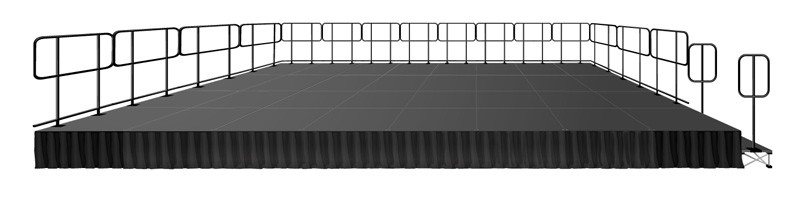 32 SQUARE METER STAGE - 8M X 4M  (32 PCS. OF 1M X 1M CARPETED PLATFORMS) WITH GUARD RAILS, STEPS AND SKIRTS